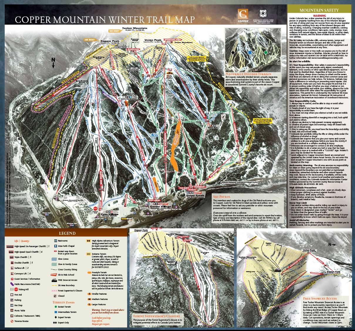 Copper Mountain - mapa sjezdovek